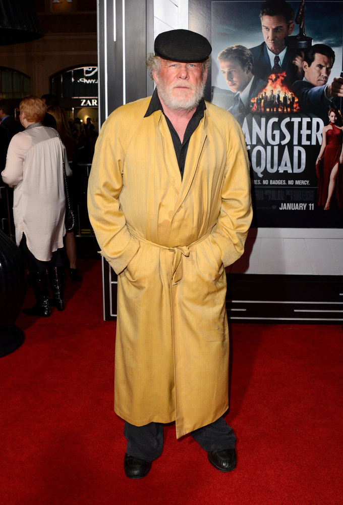 ". Actor Nick Nolte arrives at Warner Bros. Pictures\' ""Gangster Squad\"" premiere at Grauman\'s Chinese Theatre on January 7, 2013 in Hollywood, California.  (Photo by Jason Merritt/Getty Images)"