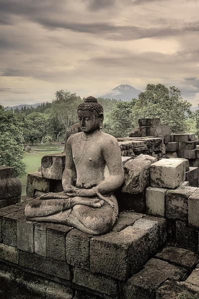 Buddha and Mount Merapi