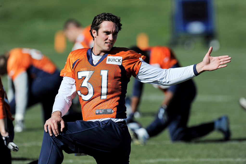 . Denver Broncos Brock Osweiler (17) wore number 31 for his jersey during practice on October 30, 2013 at Dove Valley. The players swapped jerseys for Halloween. (Photo by John Leyba/The Denver Post)