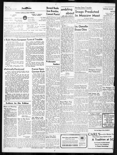 Daily Trojan, Vol. 38, No. 92, March 11, 1947