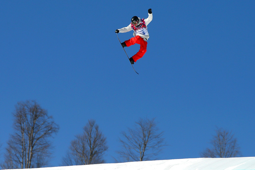 . Lucien Koch of Switzerland competes in the Men\'s Slopestyle Qualification during the Sochi 2014 Winter Olympics at Rosa Khutor Extreme Park on February 6, 2014 in Sochi, Russia.  (Photo by Mike Ehrmann/Getty Images)