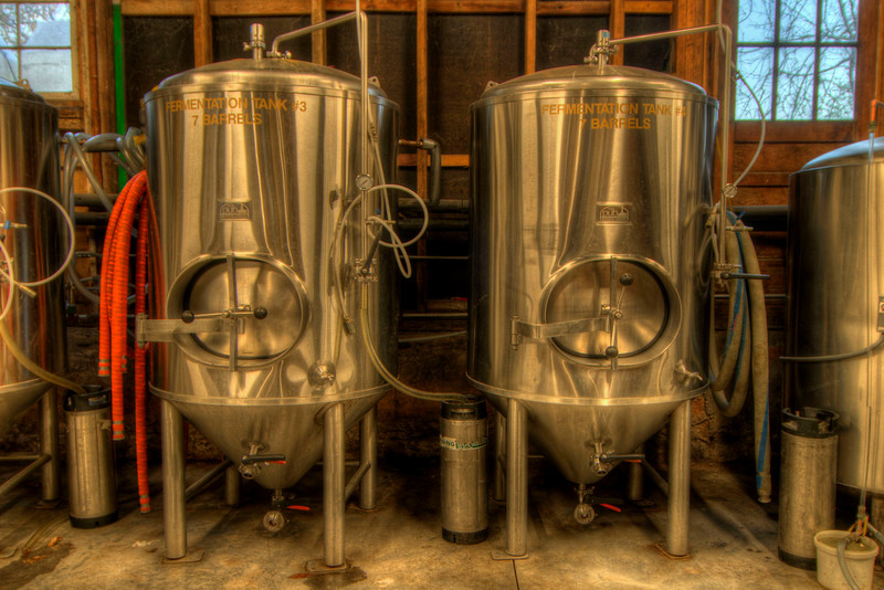 A pair of fermenters at the Wolf Hills Brewing Company in Abingdon, VA on Friday, October 19, 2012. Copyright 2012 Jason Barnette