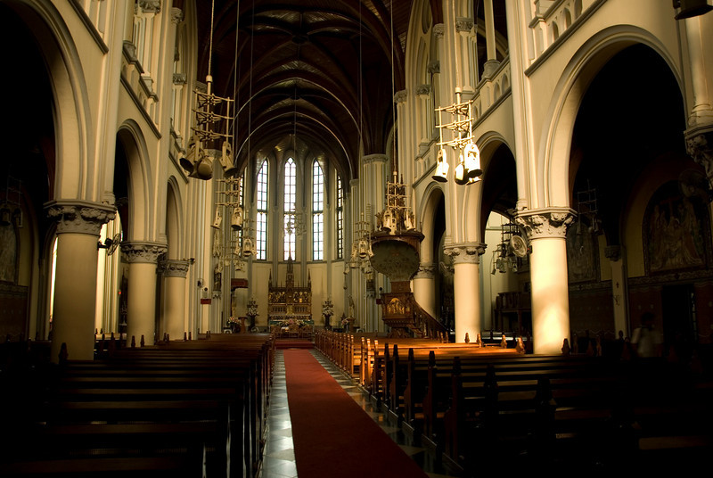 Beautiful architectural design inside National Cathederal in Jakarta, Indonesia