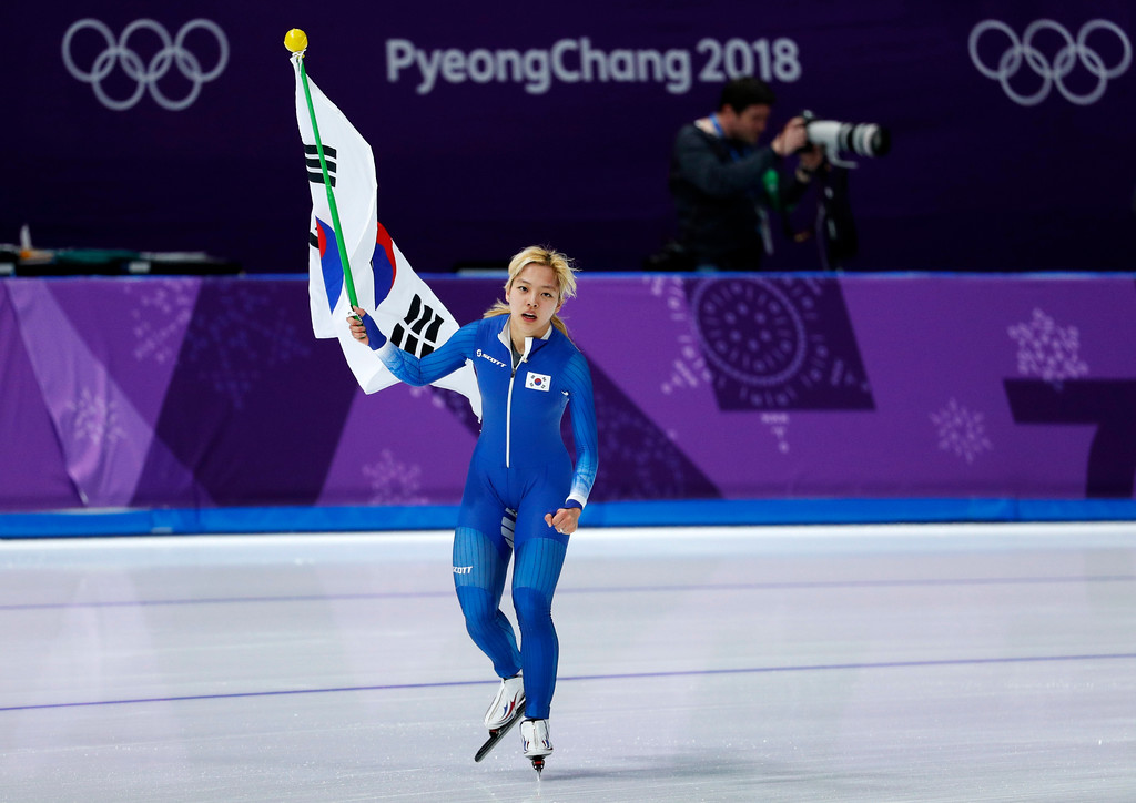 . Silver medalist Kim Bo-reum of South Korea celebrates after the men\'s mass start speedskating race at the Gangneung Oval at the 2018 Winter Olympics in Gangneung, South Korea, Saturday, Feb. 24, 2018. (AP Photo/John Locher)
