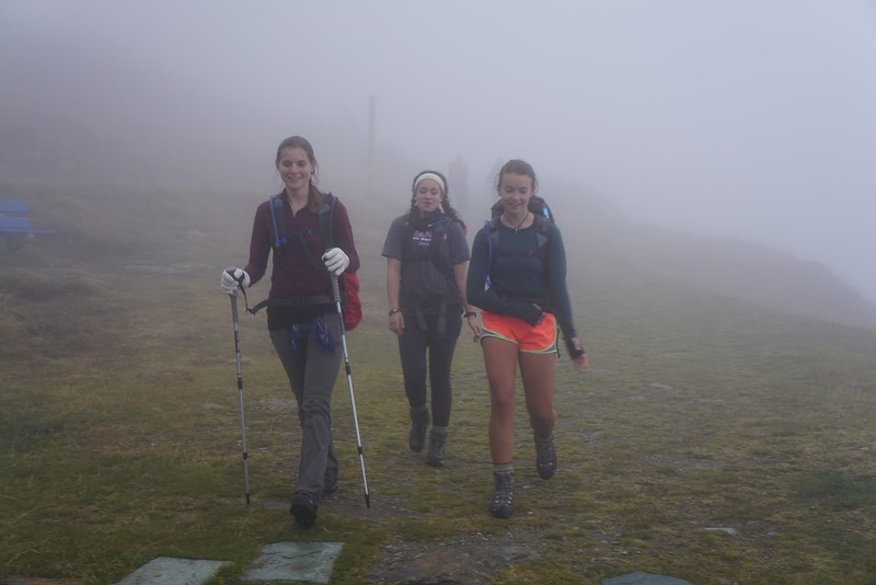 Ms. Champagne, Lily, and Ellory arriving at the Tasch Hut