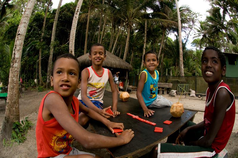 Local Brasilan kids, Itacare, Bahia, Brazil.