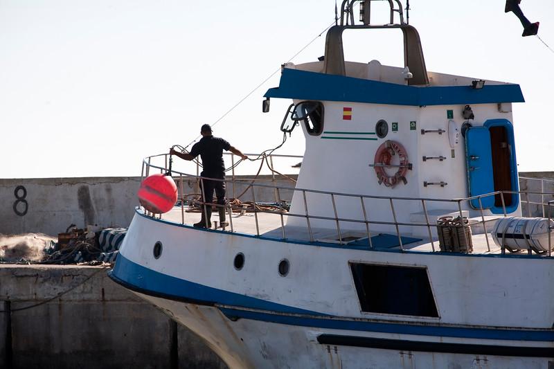 Fishing boat mooring at Bonanza port. Town of Sanlucar de Barrameda, province of Cadiz, Andalusia, Spain.