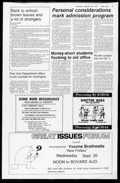 Daily Trojan, Vol. 65, No. 3, September 20, 1972