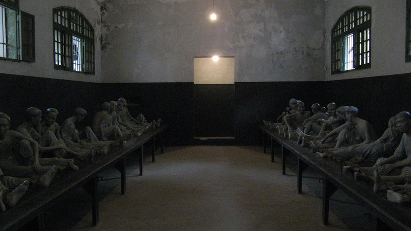Hanoi Hilton - prisoners would have their legs in locks here.