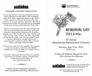 May 27, 2013      30th Annual Memorial Day, Pioneer & Military Memorial Park, Phoenix.   (Pictures pending)