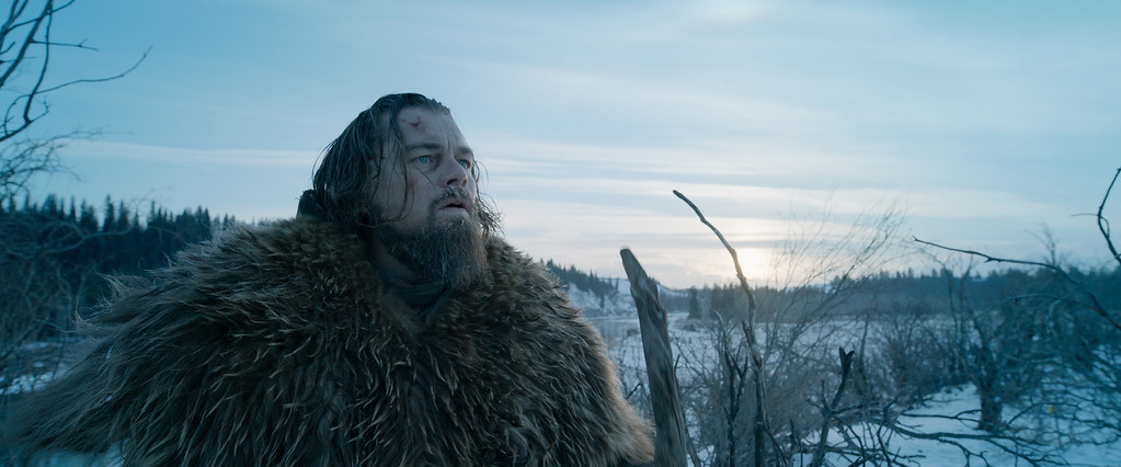 ". This photo provided by courtesy of  Twentieth Century Fox shows, Leonardo DiCaprio as Hugh Glass, in a scene from the film, ""The Revenant.\"" DiCaprio was nominated for an Oscar for best actor on Thursday, Jan. 14, 2016, for his role in the film. The 88th annual Academy Awards will take place on Sunday, Feb. 28, at the Dolby Theatre in Los Angeles. (Courtesy Twentieth Century Fox via AP)"