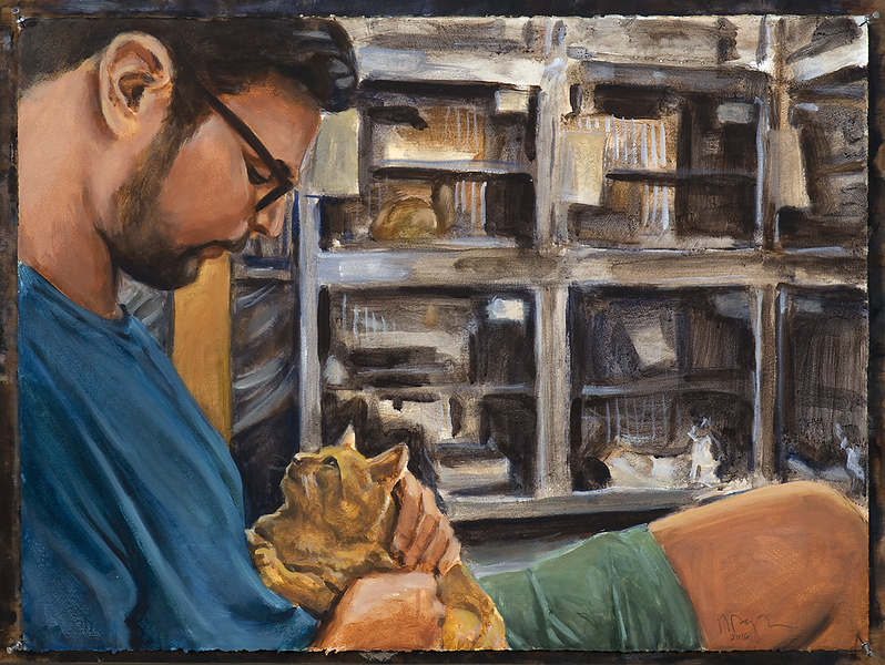 Man with Cat (version 2); acrylic on paper, 22 x 30 in, 2016