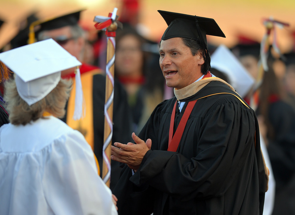 . Long Beach City College\'s class of 2014 receive their certificates and degrees at Veterans Memorial Stadium in Long Beach, CA on Thursday, June 5, 2014. LBCC President Eloy Oriz Oakley. (Photo by Scott Varley, Daily Breeze)