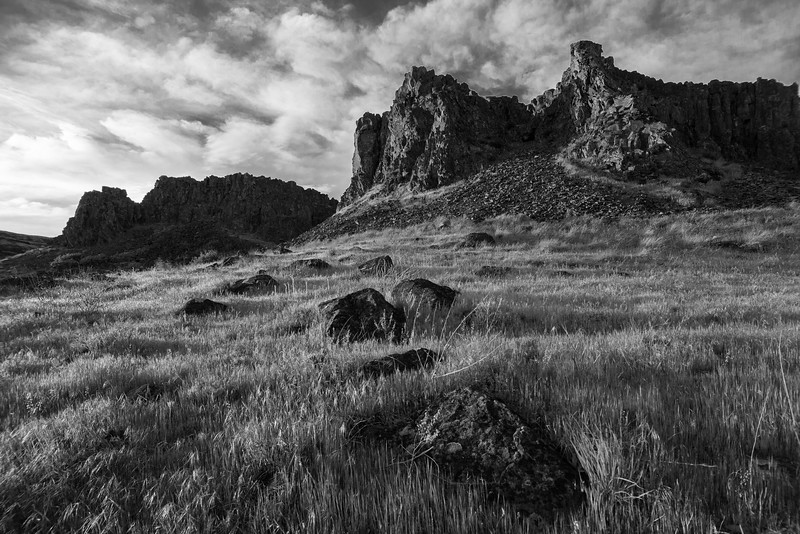 """SCENIC CATEGORY, HONORABLE MENTION: ANNIE KAPLAN  Staff #2 Scenic.  Vince #3 Scenic. """"Nice high-contrast B&W shot with sharp detail in the grass and interesting clouds.""""  Greg #2 Scenic. """"The unique geology of the Gorge (especially east of Hood River) often gets short shrift, so I appreciate the photographer highlighting Horsethief Butte. I also commend the photographer's decision to go with monochrome, which (IMO) makes a very good shot even better."""""""
