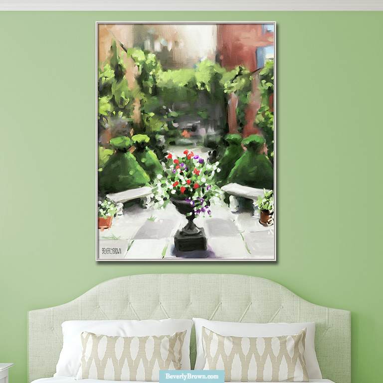 Spring green bedroom with colorful garden art print painting canvas wall art over the bed. Artwork by Beverly Brown - https://www.beverlybrown.com