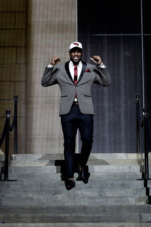 . Temple\'s Haason Reddick reacts after being selected by the Arizona Cardinals during the first round of the 2017 NFL football draft, Thursday, April 27, 2017, in Philadelphia. (AP Photo/Matt Rourke)