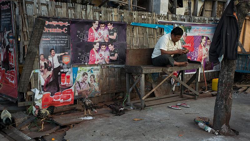 Street scene in Mandalay.  Myanmar 2017
