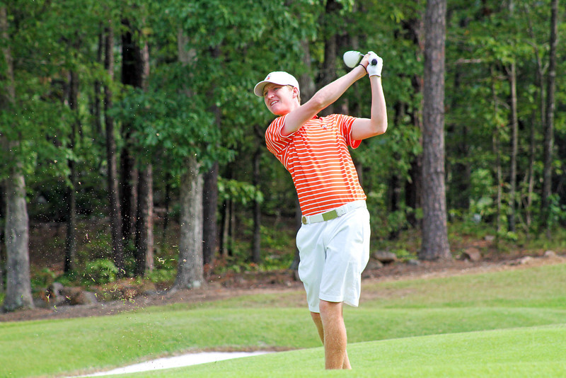 Jordan Niebrugge of Mequon, WI flies a fairway wood towards his target during the final round of stroke play at the 111th Western Amateur at The Alotian Club in Roland, AR. (WGA Photo/Ian Yelton)