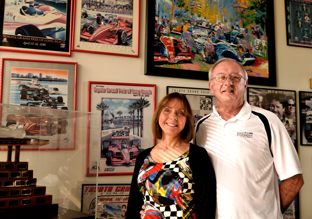 . Volunteers such as Gary and Phyllis Halliday are what power the Grand Prix Foundation, the charitable arm that hosts two major fundraising events in conjunction with the Toyota Grand Prix of Long Beach in Long Beach, CA. Monday February 17, 2014. (Thomas R. Cordova Daily Breeze/Press-Telegram)