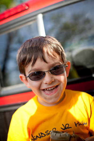 Silas Hortenstine wearhing some old sunglasses during a graduation party for Jill on May 7, 2011.  (Jay Grabiec)
