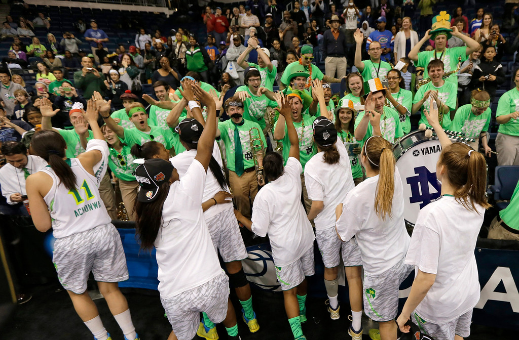 . Members of the Notre Dame women\'s basketball team celebrate their win over Duke in the regional final of the NCAA women\'s college basketball tournament Tuesday, April 2, 2013, in Norfolk, Va. Notre Dame won 87-76. (AP Photo/Steve Helber)