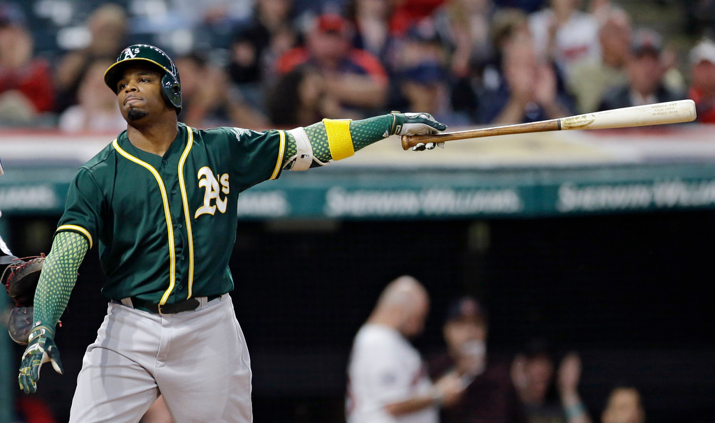 . Oakland Athletics\' Rajai Davis reacts after striking out against Cleveland Indians relief pitcher Nick Goody in the ninth inning of a baseball game, Tuesday, May 30, 2017, in Cleveland. The Indians won 9-4. (AP Photo/Tony Dejak)