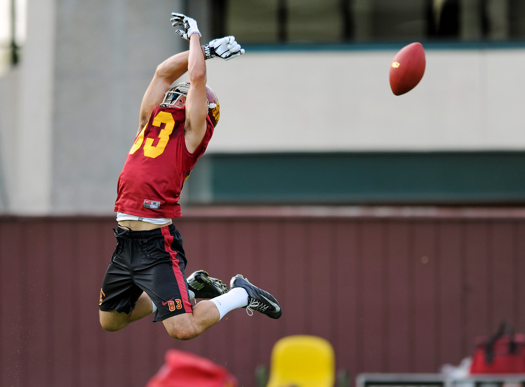 . USC WR George Katrib goes high for an overthrown pass at spring practice, Tuesday, March 11, 2014, at USC. (Photo by Michael Owen Baker/L.A. Daily News)