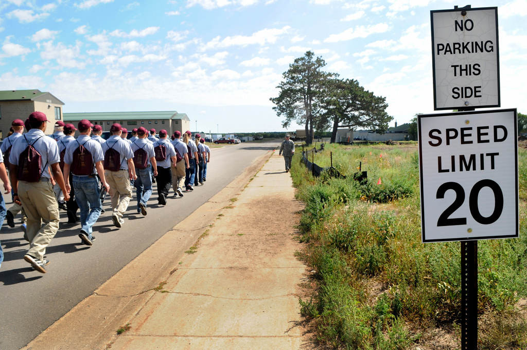 . After lunch, cadets march to the Education Center for a class on guns. (Pioneer Press: Jean Pieri)