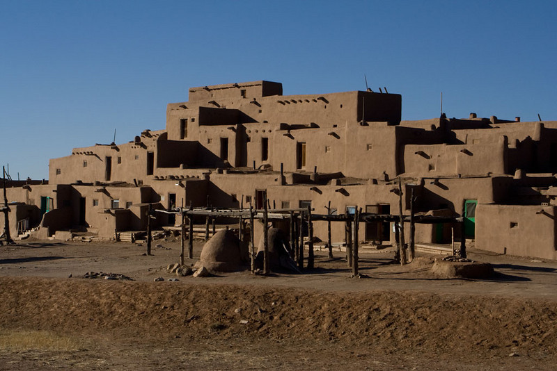 In front of the pueblo are drying racks, used to dry meat, plants, etc.