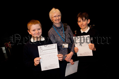 Caolan Hannaway (Bronze Medel) and James Greer (Silver Medel) are pictured with Adjucator Elizabeth Bicker. R1509004