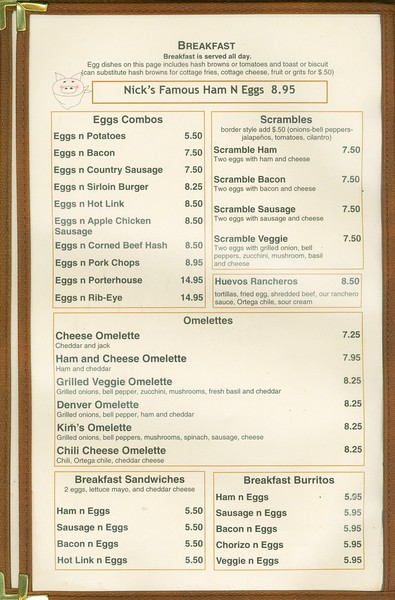 2011, Breakfast Menu