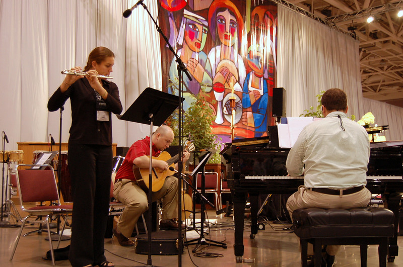 Musicians during Friday's worship service.