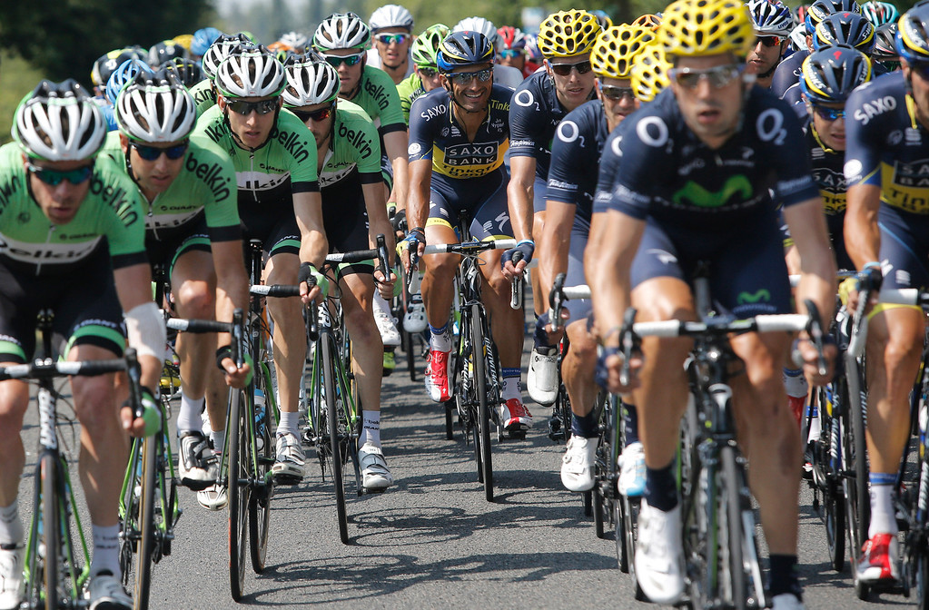 . Team Belkin with Bauke Mollema of The Netherlands in third position, ride in the pack during the twelfth stage of the Tour de France cycling race over 218 kilometers (136.2 miles) with start in in Fougeres and finish in Tours, western France, Thursday July 11 2013. (AP Photo/Laurent Cipriani)