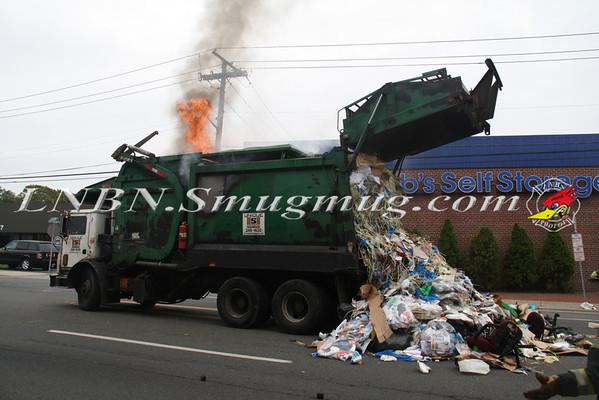 Lindenhurst F.D. Garbage Truck Fire E. Hoffman Ave & S. Alleghany Ave. 10-11-13