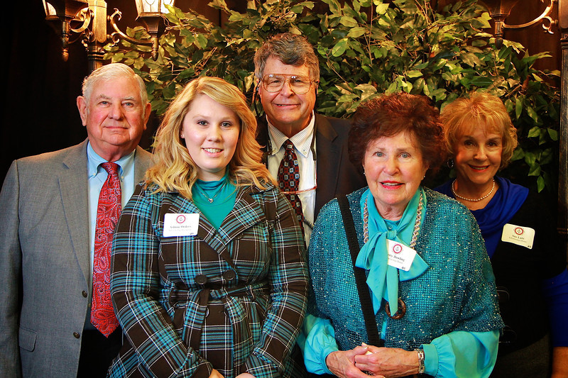 Betty Bowling, Richard Bowling, Sue Lutz, Ashton Orders, Jack Lutz. Scholarship Luncheon at Gardner-Webb University.
