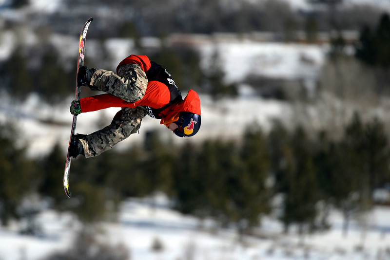 . Seppe Smits rides during the men\'s snowboard slopestyle eliminator. X Games Aspen at Buttermilk on Thursday, January 23, 2014. (Photo by AAron Ontiveroz/The Denver Post)