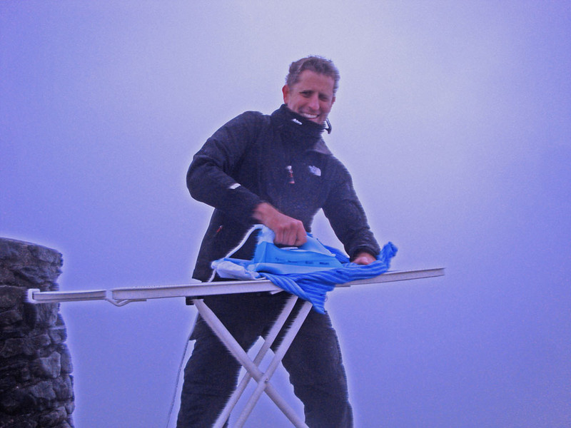 Finally, ironing on the Summit of Mt Snowdon, at 1,085 m the highest point in Wales and England. In gusts so strong I could only stay for seconds on the top of the summit cairn, which has a decent drop beneath it.