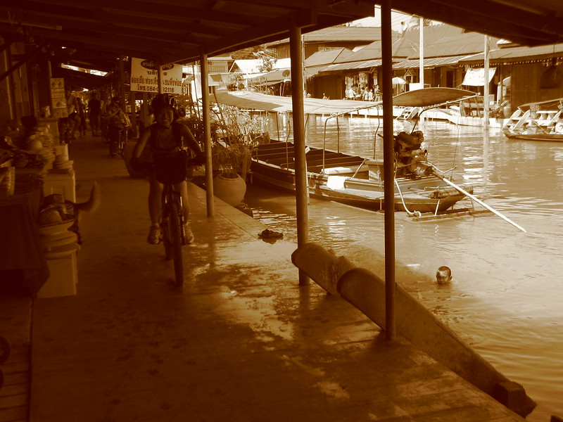 Cycling along Amphawa Canal