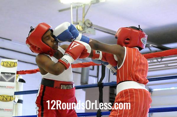 Bout 1 Demariaur Nichols, Unattached, Akron -vs- Javier Stoval, NorthSide BC, Akron, 75 lbs