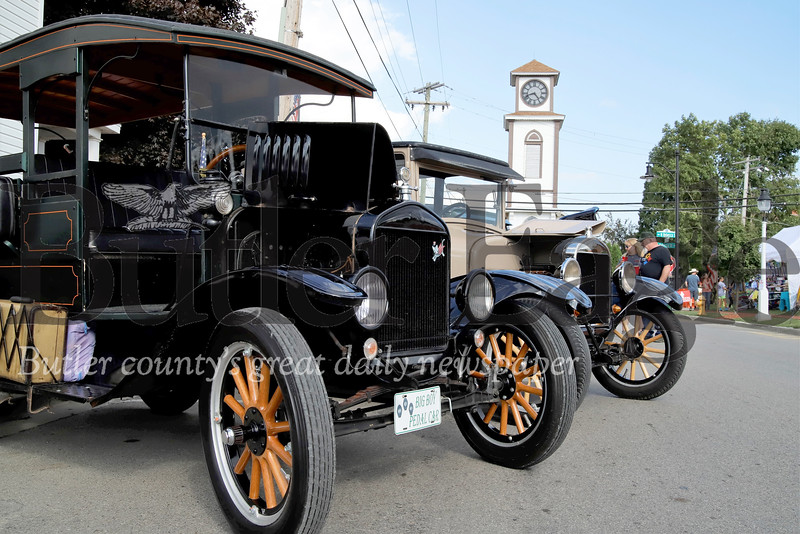20s era Ford Model Ts parked on Main St. harken back to the old days of Saxonburg. Visitors from across the region flocked to the Butler County town over the weekend for it's annual Festival of the Arts. Seb Foltz/Butler Eagle