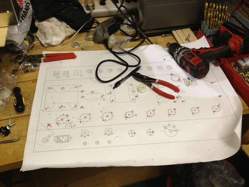 Using a spare drill plan to keep track of which holes have been drilled, and other notes