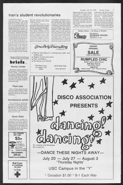 Summer Trojan, Vol. 74, No. 10, July 18, 1978