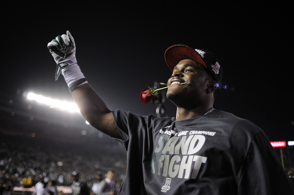 . Michigan State wins the 100th Rose Bowl game in Pasadena Wednesday, January 1, 2014. Michigan State defeated Stanford 24-20. (Photo by Hans Gutknecht/Los Angeles Daily News)