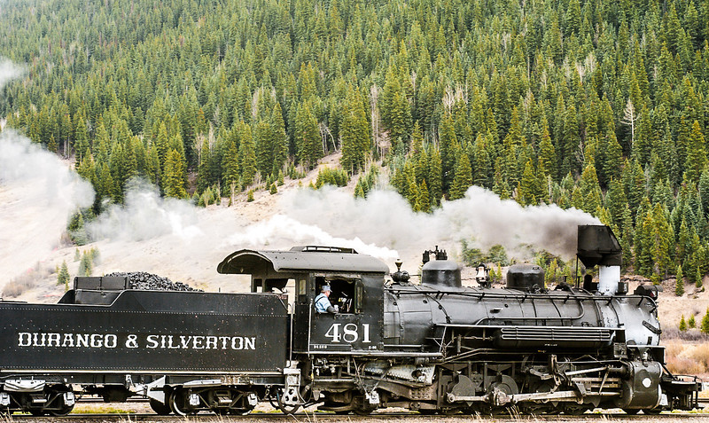 Locomotive 481 and Tender, Durango and Silverton Narrow Gauge Railroad, Leaving Silverton, Colorado, 2000