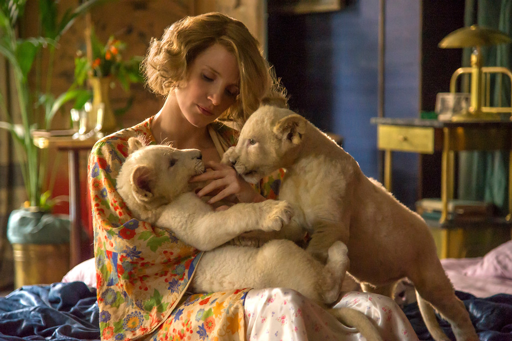 ". Jessica Chastain stars in ""The Zookeeper\'s Wife,\"" in theaters March 31. (Focus Features)"