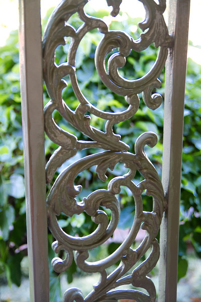 Overpainted metalwork on the Haunted Mansion