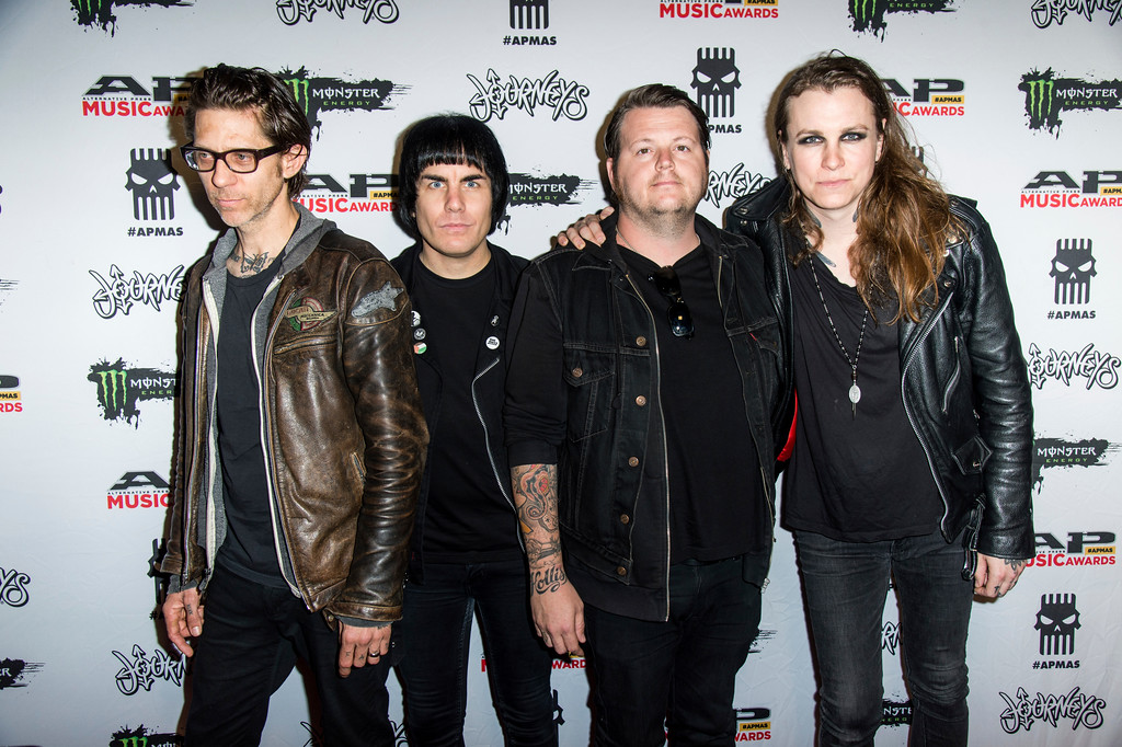 . Atom Willard, from left, Inge Johansson, James Bowman and Laura Jane Grace of Against Me! seen at 2017 Alternative Press Music Awards at the KeyBank State Theatre on Monday, July 17, 2017, in Cleveland. (Photo by Amy Harris/Invision/AP)