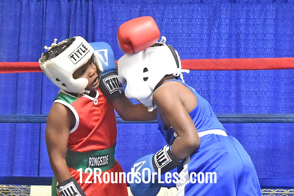 Bout #2:  Arshawn Carter, Red Gloves, 80 lbs -vs- James Bethune, Blue Gloves, 75 lbs