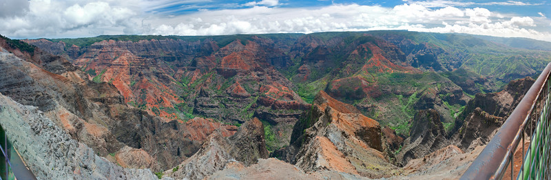 "Hailed as the ""Grand Canyon of the Pacific"", Waimea Canyon was formed over many many many years of water erosion on Lava Rock. We stopped at the Waimea Canyon Lookout and I took this 14 shot panorama. This was taken at the little viewing area that you can see in the bottom right of the previous panorama. The photo covers about 180°."