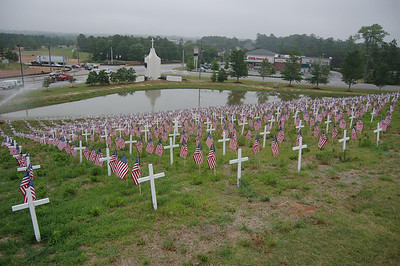 Memorial Day Flags and Crosses